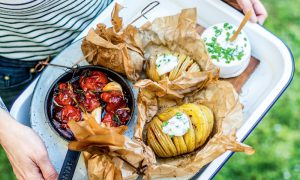 Hasselback-Potatoes-with-Herb-Quark-and-Tomato-Confit
