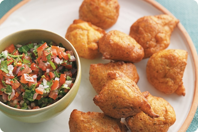 plantain fritters with pebre