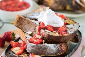 vanilla french toast with strawberry sauce and vanilla whipped cream
